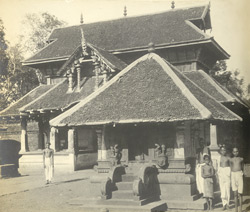 West view of the main entrance and Krishna shrine, Thaligai Temple, Malabar District, Calicut Taluk